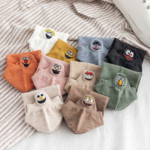 Cute Embroidery Socks For Women Harajuku Cotton Short  Funny Female Streetwear Calcetines Meias