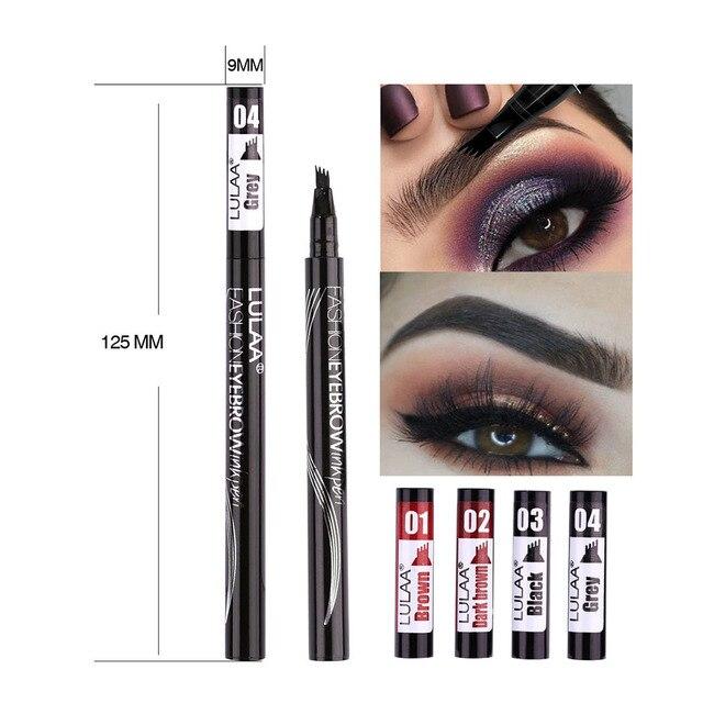Women Waterproof Natural Eyebrow Pen Four-claw Eye Brow Tint Microblading Makeup Four Colors Eyebrow Pencil Brush Cosmetics 2