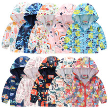 Baby Girl Baby Boy Jacket Fashion Cartoon Print Zipper Hooded Windproof Toddler Kids Outwear Autumn Winter Clothes Coat