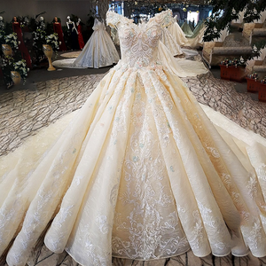Image 3 - LS32412 as the picture off shoulder sweetheart ball gown lace up back hand work wedding dresses vestido de noiva real photos
