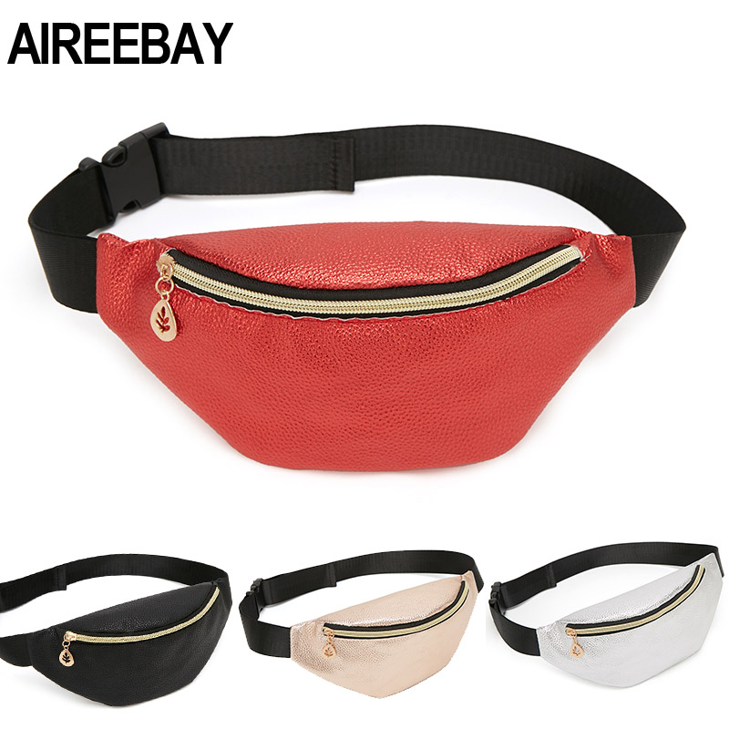 AIREEBAY Casual Women Waist Bag Brand Designer Fanny Packs Retro Style Girls Belt Bag 2019 New Small Leather Chest Travel Pouchs