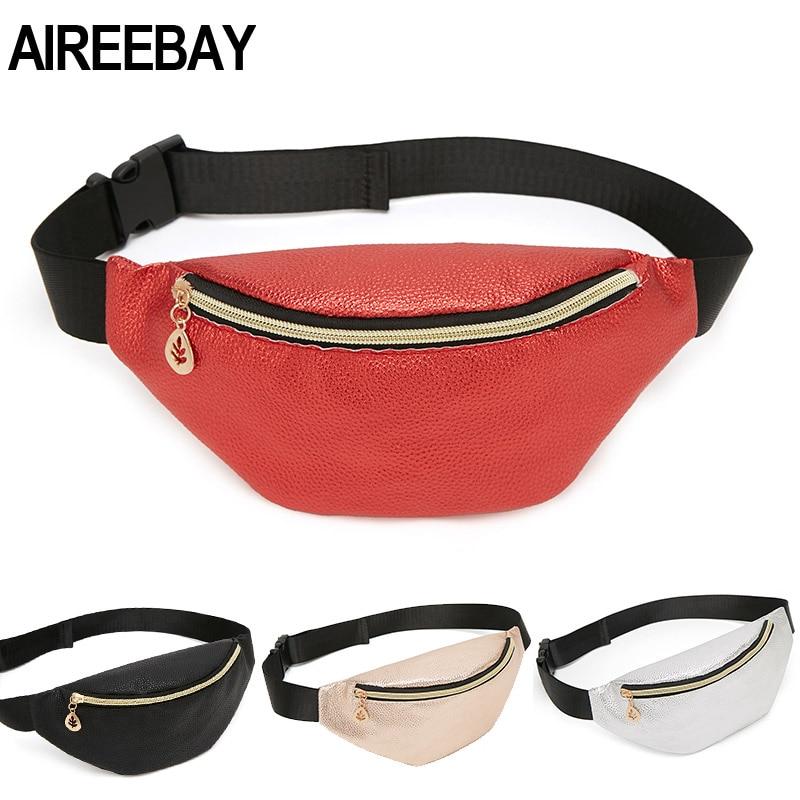 AIREEBAY Casual Women Waist Bag Brand Designer Fanny Packs Retro Style Girls Belt Bag 2019 New Small Leather Chest Travel Pouchs