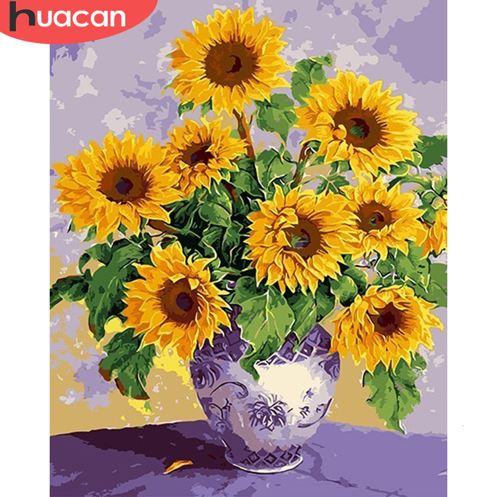 HUACAN DIY Pictures By Numbers Sunflowers HandPainted Coloring Drawing Kits Canvas Oil Painting Home Decoration Gift