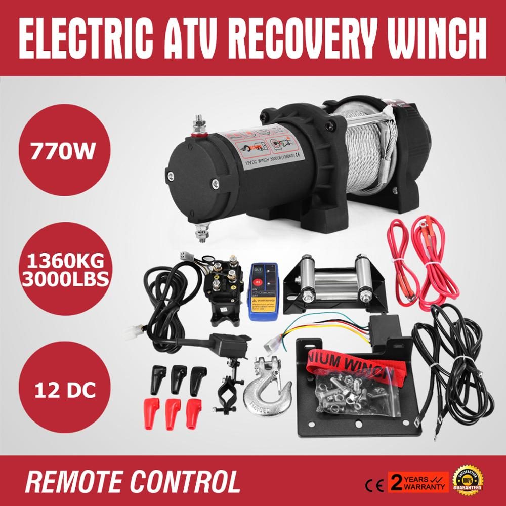 NEW Electric ATV Recovery Winch  Electric ATV Recovery Winch Steel Cable With Radio Remote Control For ATV UTV 1360KG 3000LBS