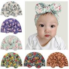 Детские головные уборы мягкие с принтом тканевые бантом новые
