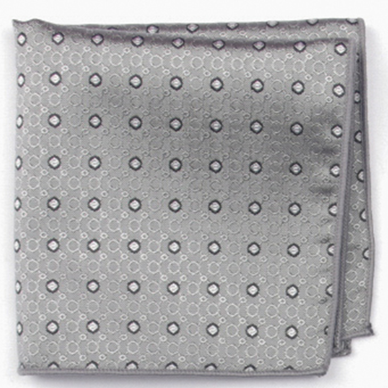 Silver Grey Patterned Pocket Square With Patterns Handkerchief