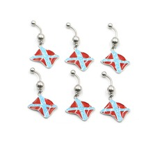 NEW 1pc Sexy Flag Dangling Navel Belly Button Rings Piercing Crystal Surgical Steel 14g Woman Body Jewelry Barbell Drop Shipping