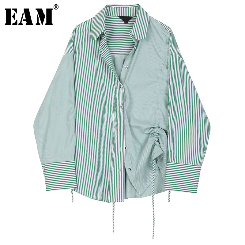[EAM] Women Green Striped Drawstring Big Size Blouse New Lapel Long Sleeve Loose Fit Shirt Fashion Tide Spring Autumn 2020 1R912