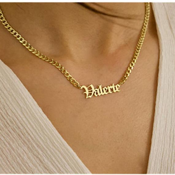 AurolaCo Custom Old English Name Necklace Cuban Chain Custom Name Necklace Stainless Steel Gold Necklace For Women Men Gift 1