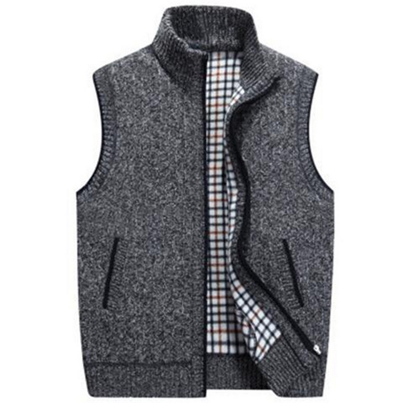 PUIMENTIUAMens Winter Wool Sweater Vests Mens Sleeveless Knitted Vest Jacket  2019 New Warm Fleece Sweatercoat Plus Size
