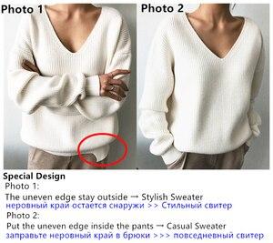 Colorfaith New 2019 Autumn Winter Women's Sweaters V-Neck Minimalist Tops Fashionable Irregular Hem Knitting Casual Solid SW8112