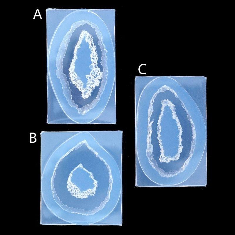 Crystal Quartz Rock Cluster Geode Druzy Gem Pendant Silicone Mold Resin Jewelry