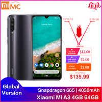 Globale Versione Xiao mi mi A3 4GB 64GB Smartphone 6.088 schermo AMOLED Snapdragon 665 Octa Core A Schermo impronte digitali 4030mAh Cellulare
