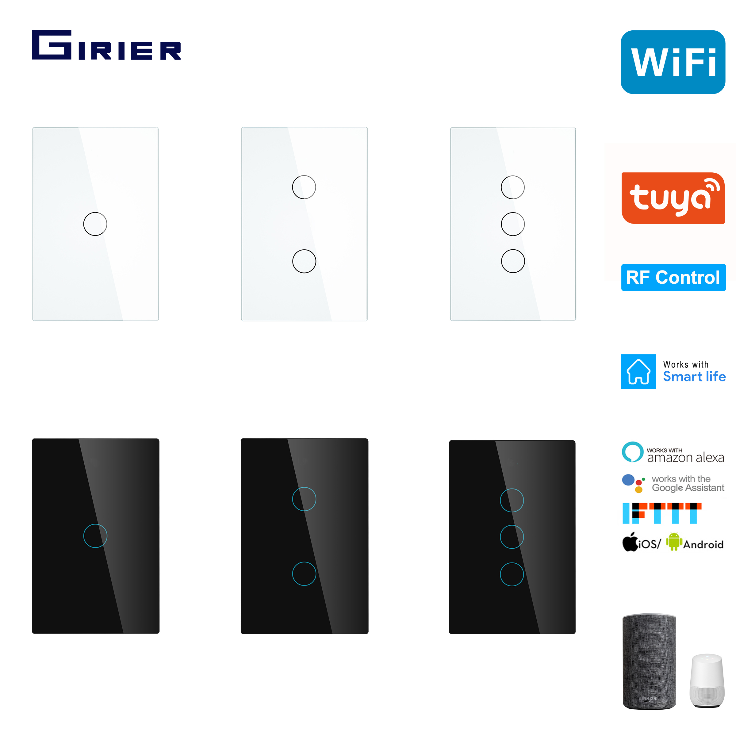 Smart Wifi Touch Switch No Neutral Wire Required Smart Home RF433 Tuya App Wireless Remote Light Switch US170-240V Support Alexa