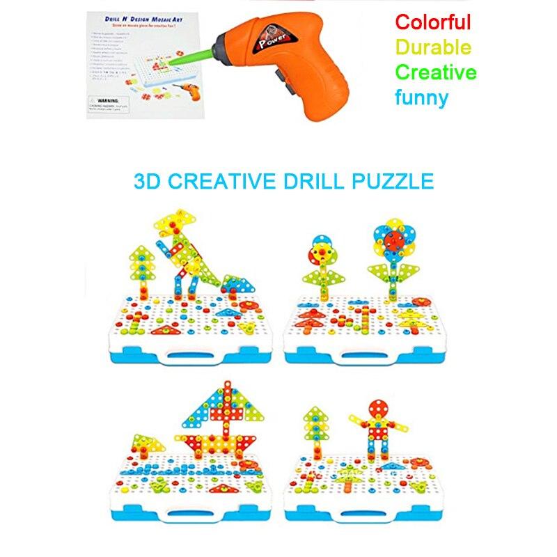 Image 4 - Детский набор инструментов, игрушки для детей, дрель головоломка, Электрические игрушечные дрели, винтовые Игрушки для мальчиков, детский набор сверл-in Навинчивающиеся блоки from Игрушки и хобби on AliExpress