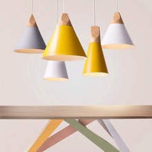 Dining Room Pendant Lamp For Home Lighting Nordic Modern Pendant Lights Wooden Aluminum Lampshade Colorful  Abajur 90V-260V