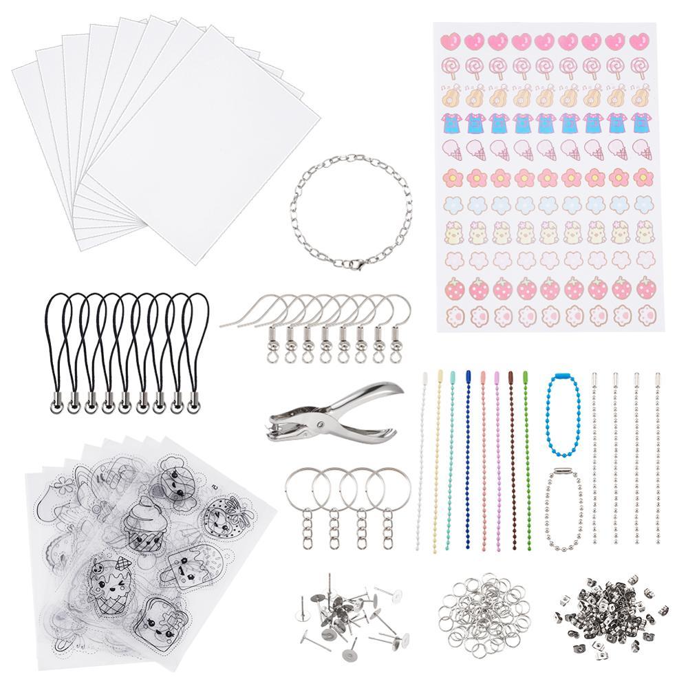 Термоусадочная пленка «сделай сам», 1 набор, термоусадочная бумага с дырочками для ключей, брелоков, Ювелирная фурнитура для рисования, худо...