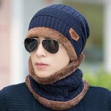 Winter Thickening Earmuffs Warm Head Cap Knitting Wool Men's Beanie Baggy Warm Ski Hat Scarf Neckerchief Set For Outdoor Sports outdoor plaid velvet baggy beanie