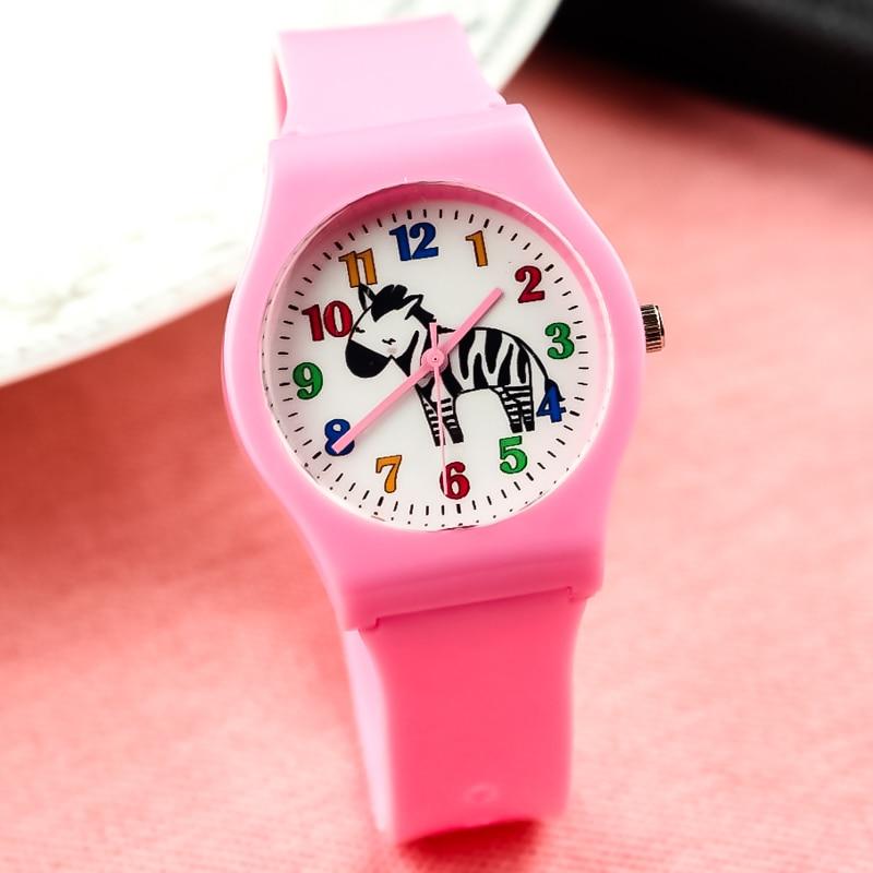 Unisex Quartz Watch Middle Boys Girls Student Cute Annimal Zebra Pattern Candy Watch Woman Color No. Dial Clock