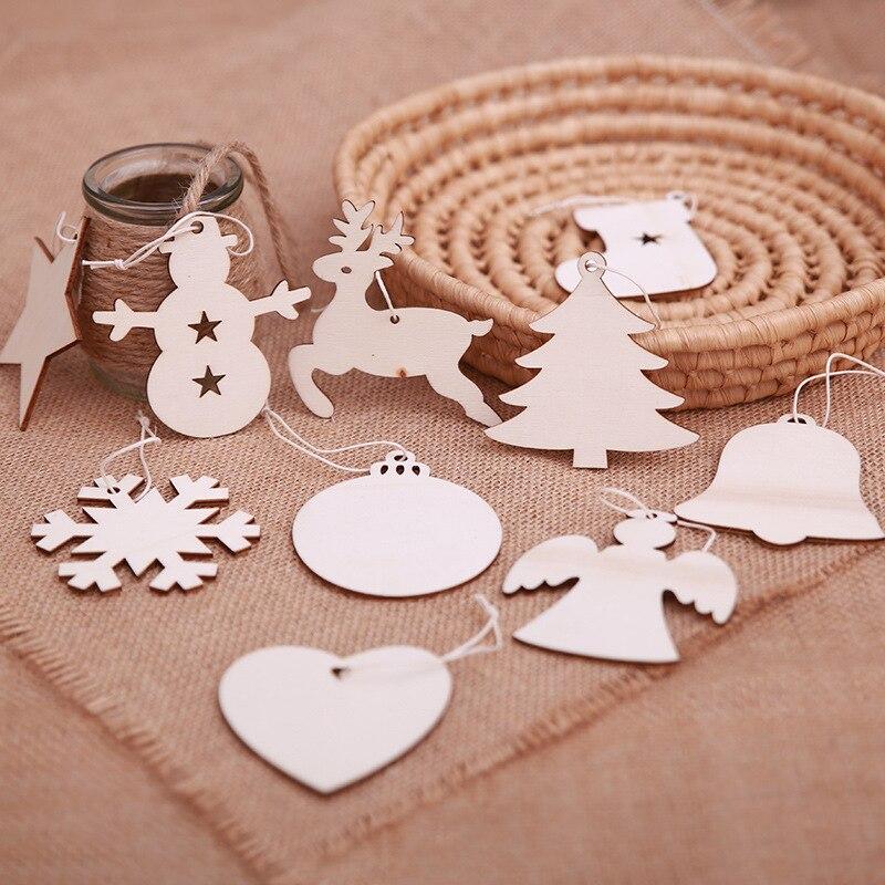 10Pcs Christmas Tree Wooden Hanging Pendant Decoration Wood Ornaments Xmas