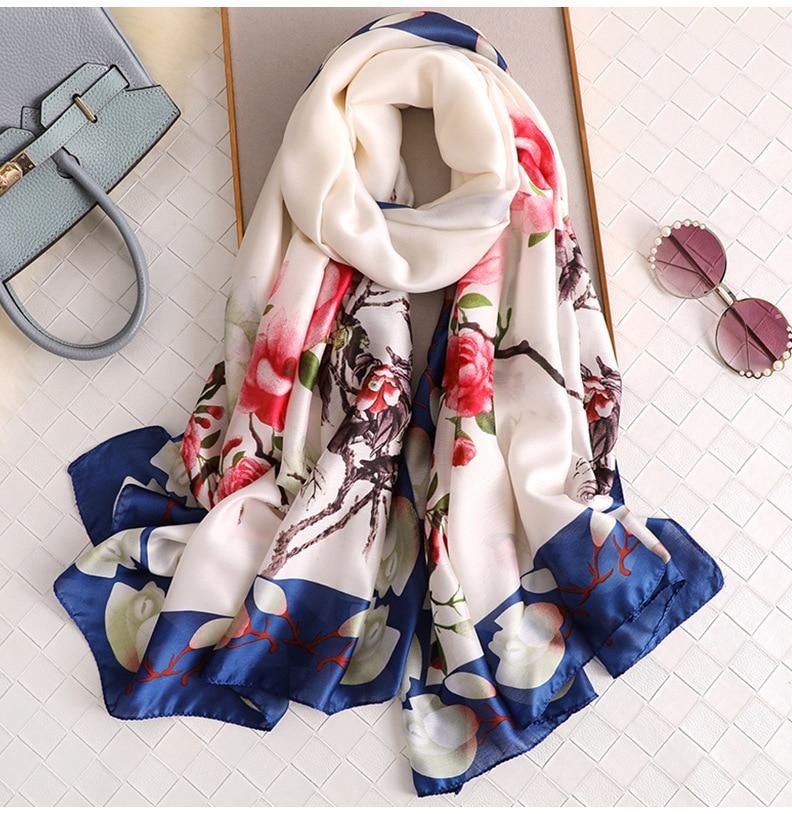 2018 Luxury Brand Women Silk Scarf Big Flower Print Purple Beach Shawl And Echarpe Designer Scarves Female Beach Stole Bandana
