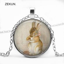 LIAOZEKUN.2019/New Alice In Wonderland Cartoon Rabbit Glass Pendant Men and Women Necklace Childrens Gift