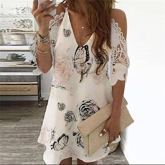 Summer Vintage Floral Printed Dresses Women Casual Off Shoulder Half Sleeves Lace Dress Hollow Out V-Neck Sling Party Dresses 4