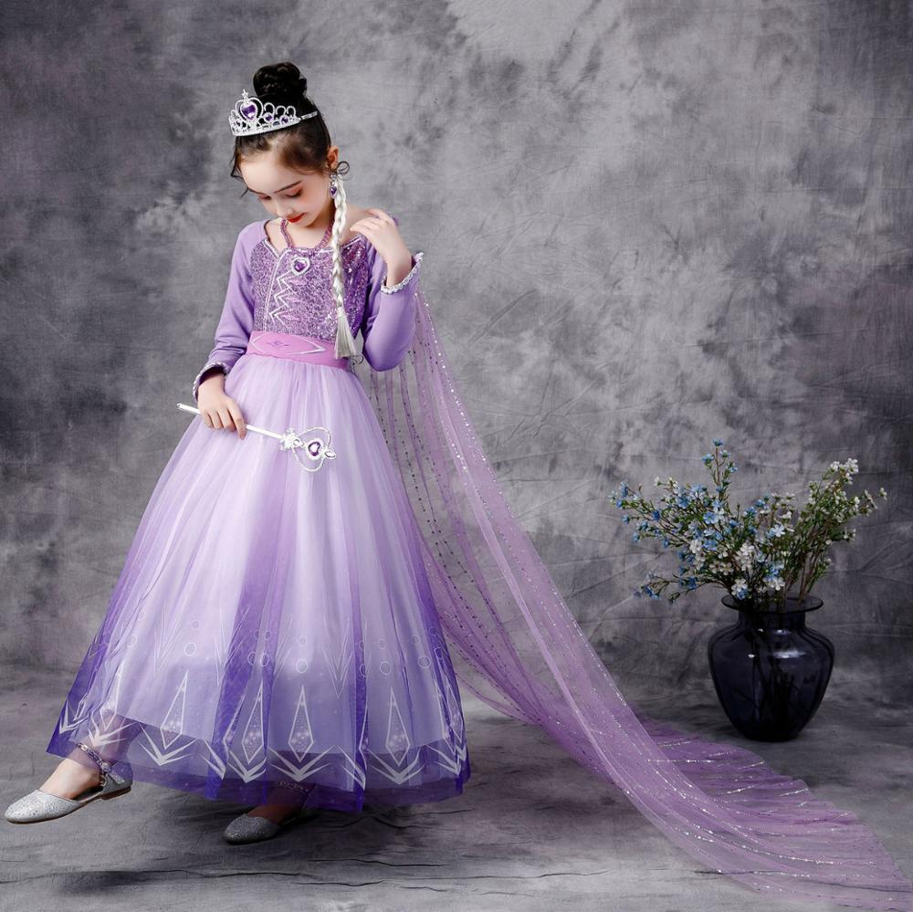 Girls Elsa Anna Long Hair Tangled Princess  Dress Sequins Fancy Cosplay Costume Purple Ball Gown Christmas Birthday Party  kids 2