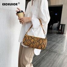 EXCELSIOR Serpentine Womens Handbags PU Leather Baguette Stylish Shoulder Bags for Female 2019 High Fashion Women Bag