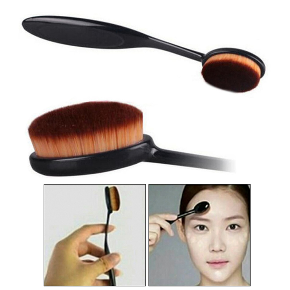 High Quality Makeup Brushes Oval Cosmetic Makeup Toothbrush Blush Face Powder Foundation Brush Toothbrush Cosmetic Makeup Tool