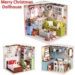 Novo 3d casa de boneca de madeira villa móveis diy modelo em miniatura luz led 3d casa de bonecas de madeira presentes de natal brinquedos para crianças