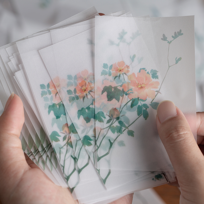 30 Pcs Retro Memo Pads Fall Plant Floral Non-Sticky Notes DIY Scrapbooking Bullet Journal Chinese Style Memo Sheets Stationery