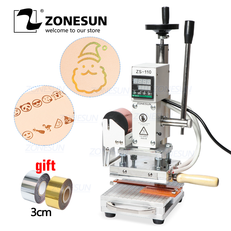 ZONESUN ZS110 Slideable Plate Digital Hot Foil Stamping Machine Leather Embossing Bronzing Tool Wood PVC Paper DIY Press