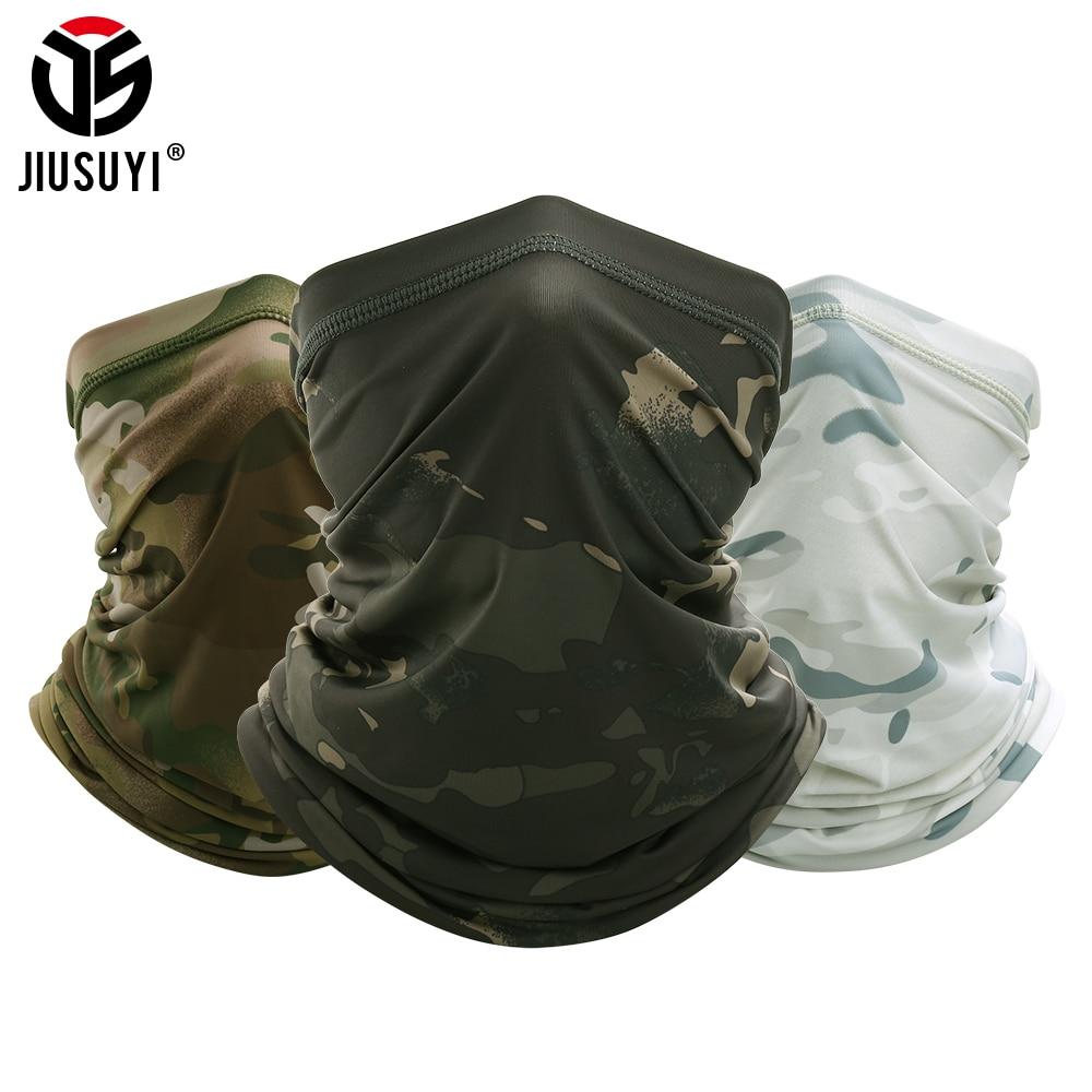 JIUSUYI Camouflage Breathable Neck Gaiter Headband Elastic Tube Scarf Multicam Half Face Cover Bandana Balaclava Women Men New