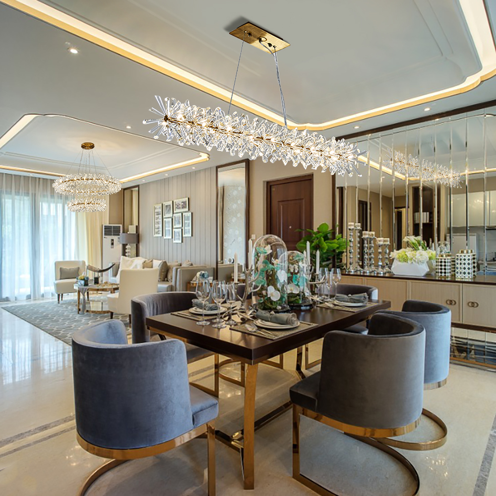 Yoogee Luxury Modern Chandelier Lighting For Dining Room Crystal LED Chandeliers Kitchen Island Decor Lamps Lustres De Cristal