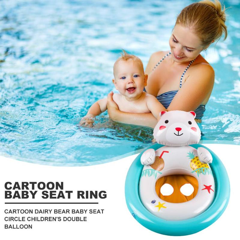 PVC Water Sports Baby Swimming Pool Seat Wide Scope Of Application Work Exquisite Cartoon Safety Double Balloon Kids Toys