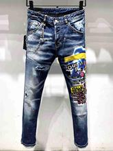 NEW Mens jeans Straight Jeans Fashion Classic Destroyed Swag Male Denim Pants Jeans Men men contrast stitching destroyed denim pants