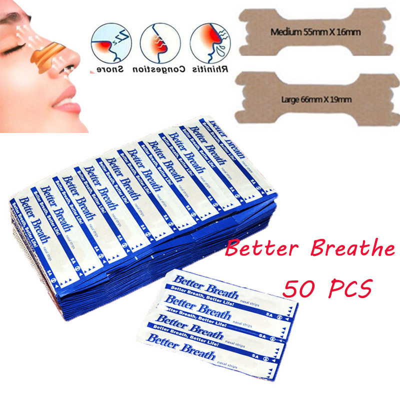 50 pçs respiram tiras nasais maneira direita parar ressonar anti ressonar tiras mais fácil melhor respirar cuidados de saúde