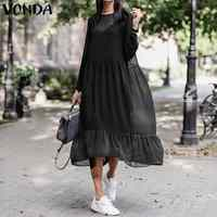 VONDA Women Autumn Long Maxi Dress Fashion Sundress With One Strap Long Sleeve Shirt Dress Party Vestidos Plus Size Robe Femme
