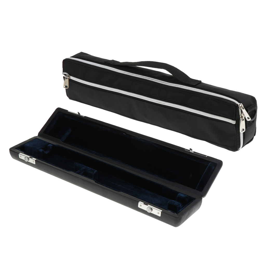 Artificial Leather Hard Case With Carrying Canvas Bag For 17 Holes Flutes Storage