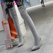 ANNYMOLI Winter Thigh High Boots Women Bling Thin Heel Over the Knee Slim Stretch Super Shoes Female Big Size 46
