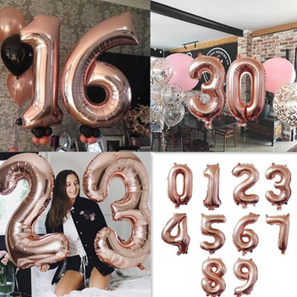 Rose Gold Balloons Adults Happy <font><b>Birthday</b></font> Party <font><b>Decor</b></font> Kids 1st 2nd 16th 18th <font><b>20th</b></font> 30th 40th <font><b>Birthday</b></font> Baloon Wedding Bride to Be image