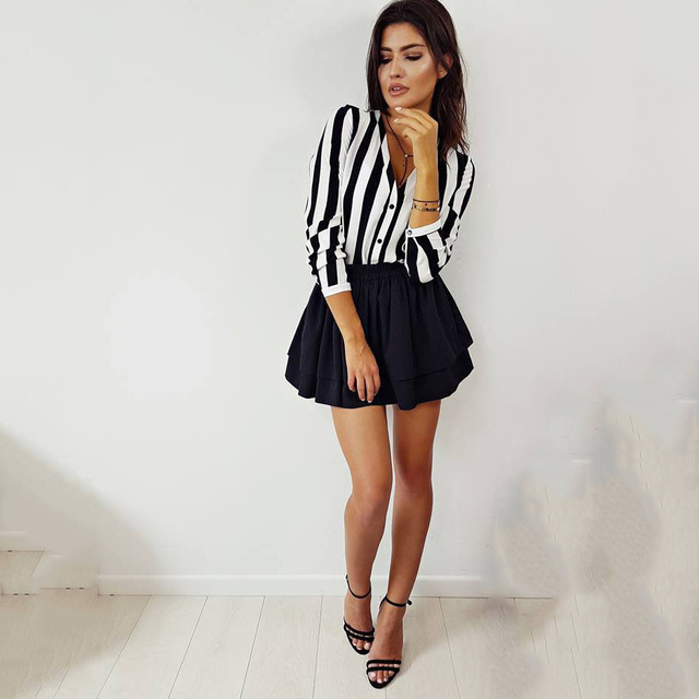 Fashion Hot Sale Summer Elegant V Neck Button Blouse OL Casual Loose Tops Sexy Women Striped Vintage Shirt 8