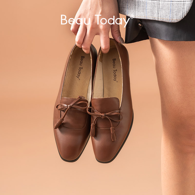 BeauToday Fringes Loafers Women Calfskin Genuine Leather Butterfly-Knot Square Toe Ladies Slip On Flats Handmade 27084