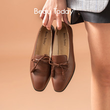 BeauToday Fringes Loafers Women Calfskin Genuine Leather Butterfly Knot Square Toe Ladies Slip On Flats Handmade 27084