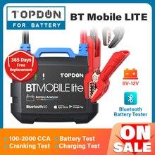 Topdon bluetoothカーバッテリーテスターbt携帯lite 12vワイヤレスバッテリモニタ100 2000CCA自動充電器クランキングアナライザツール