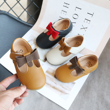 2020 Girls Leather Shoes for Kids Butterfiy knot Girls Wedding Shoes Children Princesss Shoes Teenager Girls Baby Shoes D01232 cheap jiiyello Rubber Fits true to size take your normal size Flat with Black Brown Beige Most Countries Closed Toe Spring Autumn Summer