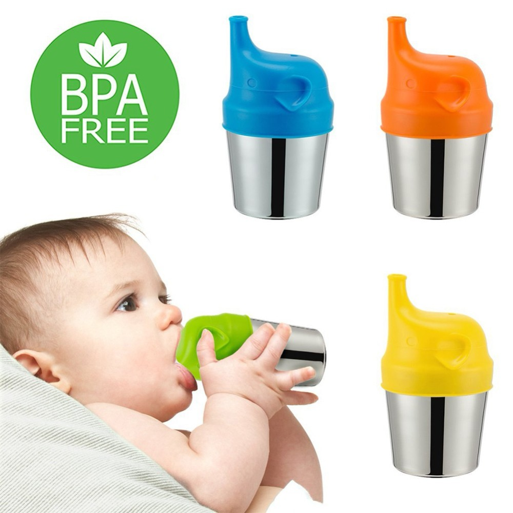 New Baby Feeding Cups Fashion Baby Drinkware Stainless Steel Sippy Cups For Toddlers & Kids With Silicone Sippy Cup Lids Solid