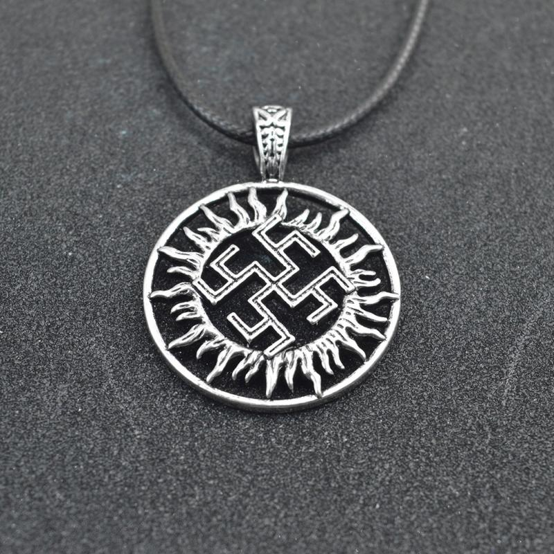Mens Silver Color Necklace Swastika Symbol Pendant Geometric Jewelry Gift