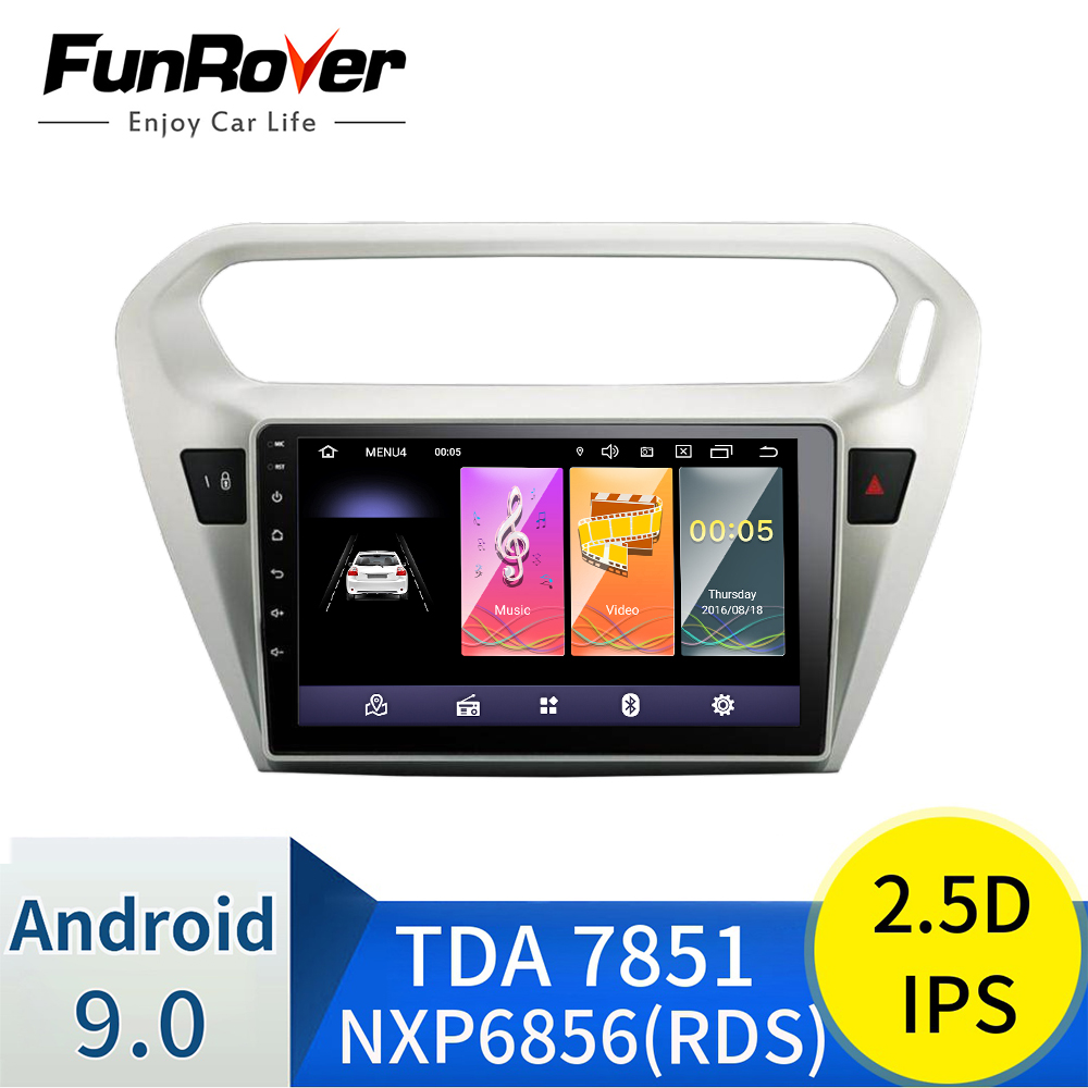 Funrover Android 9.0 2.5D+IPS Car Radio Multimedia dvd For <font><b>Peugeot</b></font> <font><b>301</b></font> Citroen Elysee 2014 2015 2016 car video gps tape recorder image